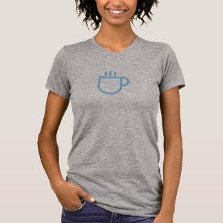 T-shirt Chemise bleue simple d'icône de tasse de café