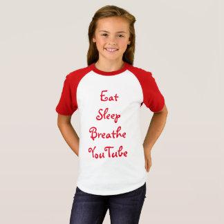T-shirt Chemise courte de douille de YouTube des filles