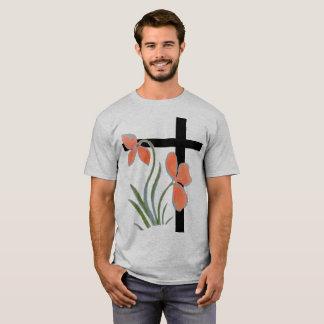 T-shirt Chemise croisée noire florale de motif de pêche