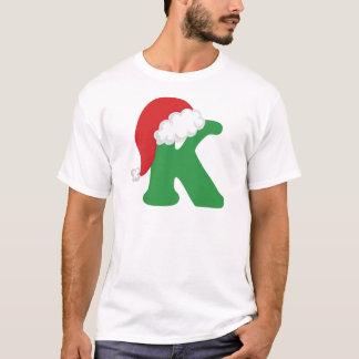 T-shirt Chemise d'alphabet de la lettre K de Noël