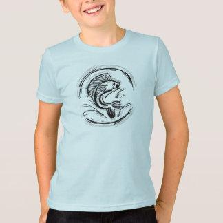 T-shirt Chemise d'art de pêche d'encre de garçons