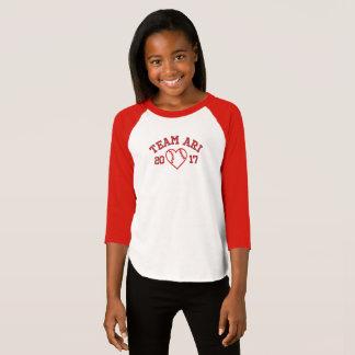 T-shirt Chemise de base-ball de coeur de filles d'Ari