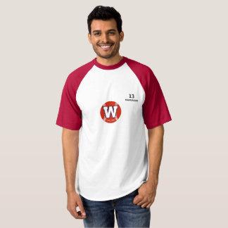 T-shirt Chemise de base-ball Rouge-Gainée par Hamunashi de
