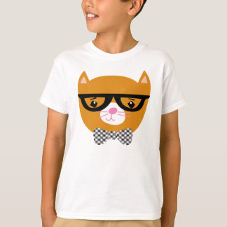 T-shirt Chemise de chat de hippie avec les verres et la