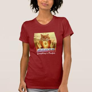T-shirt chemise de dame d'église de chat de clavier