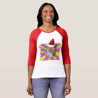 T-shirt Chemise de dames de casquette de Père Noël de chat