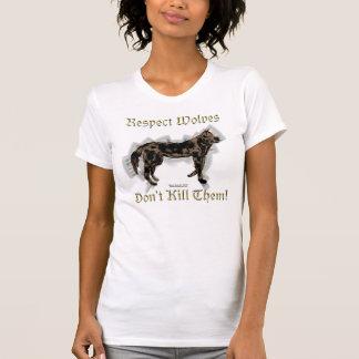 T-shirt Chemise de dames de respect de loups petite