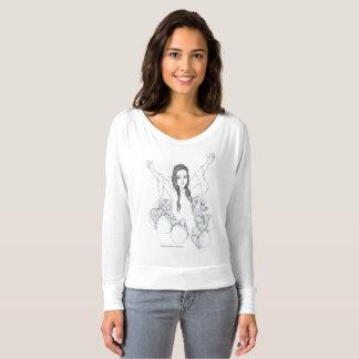 T-shirt Chemise de douille de dessin à l'encre blanc de
