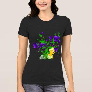 T-shirt Chemise de floraison drôle de poussin de Pâques de