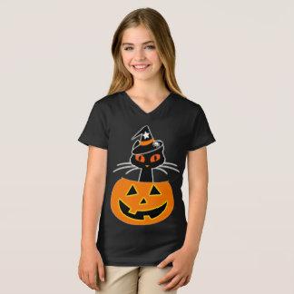 T-shirt Chemise de Halloween de sorcière de chat