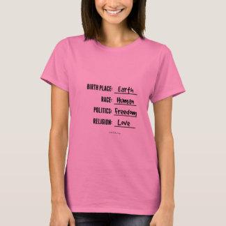 T-shirt CHEMISE de la TERRE de LIEU DE NAISSANCE (pièce en