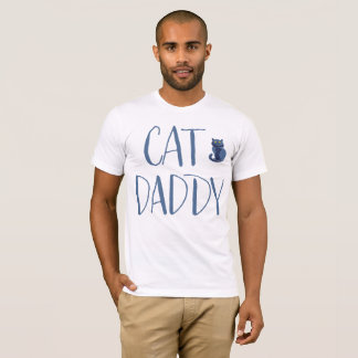 T-shirt Chemise de papa de chat blanc et bleu
