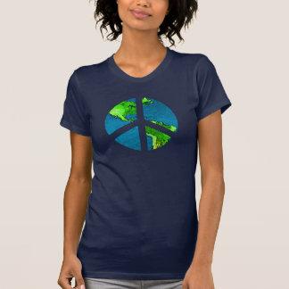T-shirt Chemise de signe de paix de globe