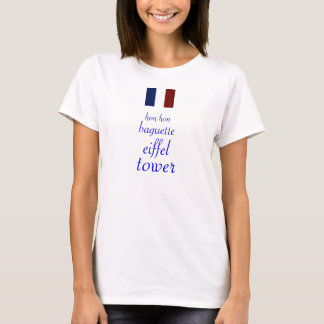 T-shirt Chemise de Tour Eiffel de baguette de chéri de