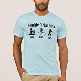 T-shirt Chemise de triathlon de zombi - bain, vélo, et