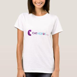 T-shirt Chemise de vidéos du chat des femmes cyan