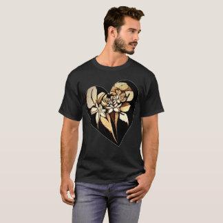 T-shirt Chemise florale bronzage de coeur de motif jusqu'à