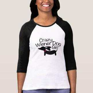 T-shirt Chemise folle de fille de chien de saucisse avec