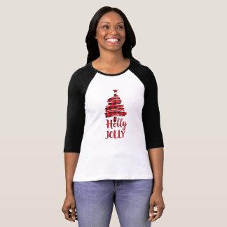 T-shirt Chemise gaie d'arbre de Noël de houx, plaid de