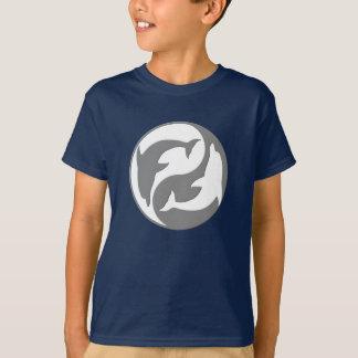 T-shirt Chemise grise et blanche de dauphins de Yang de