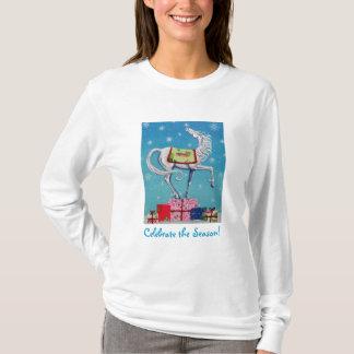 T-shirt Chemise lunatique de vacances de cheval de Noël