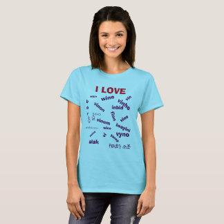 T-shirt Chemise multi de vin d'amour de la langue I