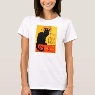 T-shirt Chemise Noir de dames de chat noir de