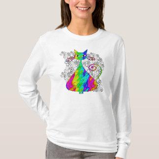 T-shirt Chemise psychédélique Trippy de chat