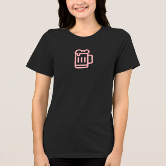 T-shirt Chemise rose simple d'icône de tasse de bière