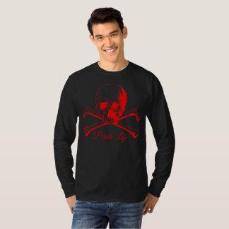 T-shirt Chemise rouge de pirate de crâne