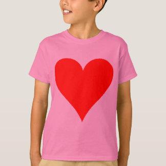 T-shirt Chemise rouge mignonne de coeur pour des filles