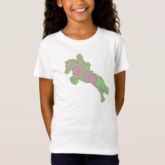T-Shirt Chemise sautante rose et verte de poney de Paisley