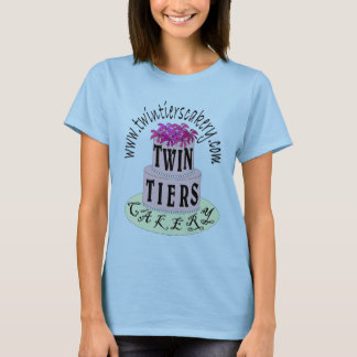 T-shirt Chemise-Womens jumeau de logo de Cakery de rangées
