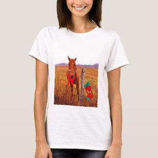 T-shirt Cheval de Noël avec l'arc et le bas