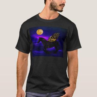 T-shirt Cheval d'or de Pegasus avec des ailes