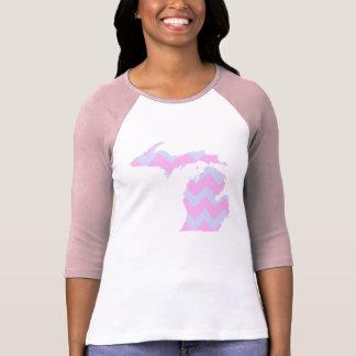 T-shirt Chevron bleu d'amusement mignon et rose en pastel