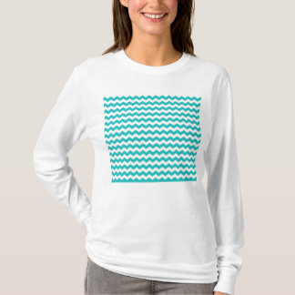T-shirt chevrons de blanc de turquoise