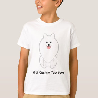 T-shirt Chien blanc mignon. Spitz ou Pomeranian.