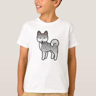 T-shirt Chien Brindle argenté de bande dessinée de race