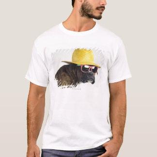 T-shirt Chien de boxeur avec le casquette et les verres