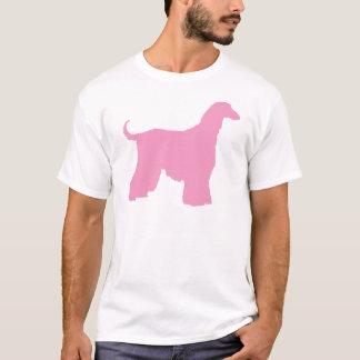 T-shirt Chien de lévrier afghan rose
