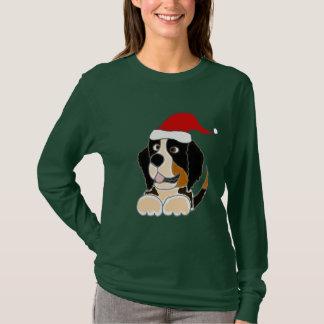 T-shirt Chien de montagne de Bernese dans l'art de Noël de