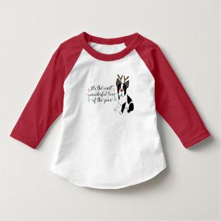 T-shirt Chien de renne de Boston Terrier de Noël