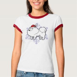 T-shirt Chien esquimau américain de Noël/Spitz allemand