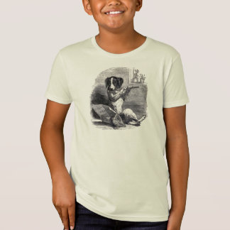 "T-Shirt ""Chien illustration vintage jouant cannelure"""