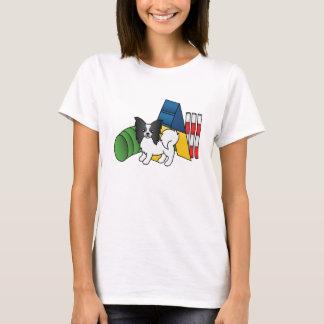 T-shirt Chien noir et blanc d'agilité de Papillon