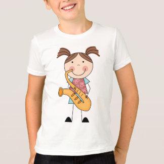 T-shirt Chiffre fille de bâton avec le saxophone