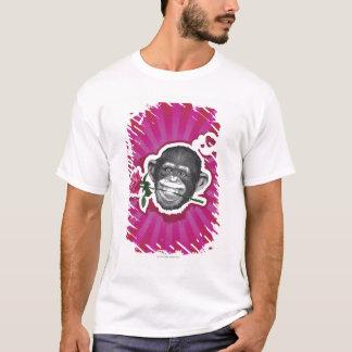 T-shirt Chimpanzé avec un rose dans sa bouche