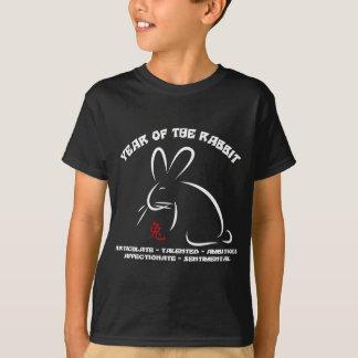 T-shirt chinois de noir de lapin de nouvelle année