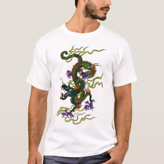 T-shirt chinois de point de contraste de dragon